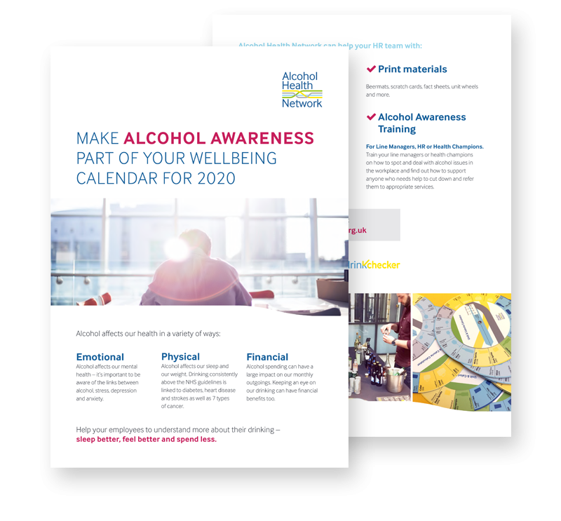 Alcohol & Workplace Wellbeing Calendar 2020